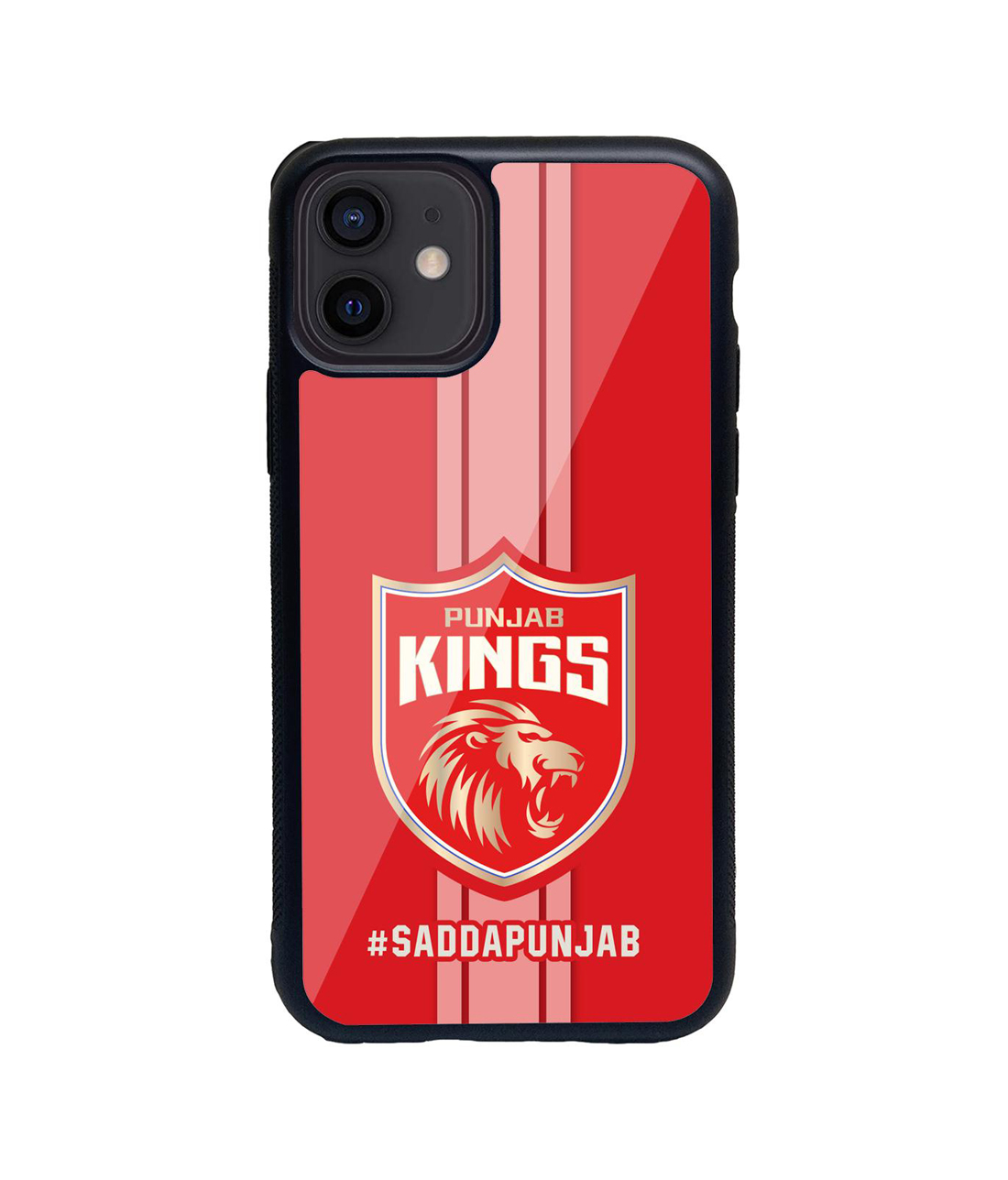 Punjab Kings Stripes - Glass Case for iPhone 12