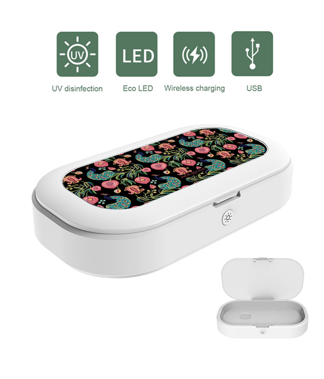 Payal Singhal Anaar and Mor Black - UV Sanitizer & Wireless Charger Pro