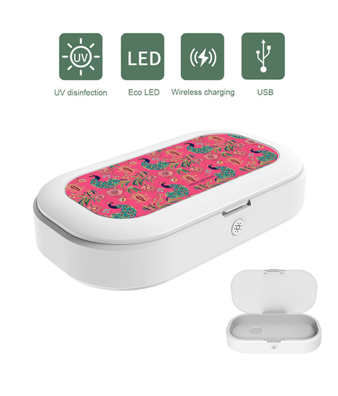 Payal Singhal Anaar and Mor Pink - UV Sanitizer & Wireless Charger Pro